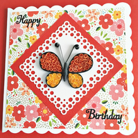 SALE 20% OFF Quilled card - birthday butterfly - personalised to any age