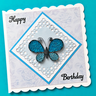 Quilled butterfly birthday card - personalised to any age