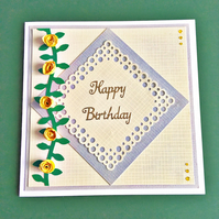 SALE 20% OFF Quilled card - birthday roses - personalised to any age