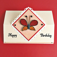 SALE 20 % OFF Quilled birthday easel card - butterfly - personalised