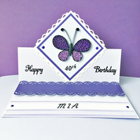 20% OFF SALE - Birthday easel card - quilled butterfly - personalised