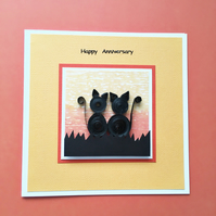 Quilled cats anniversary card