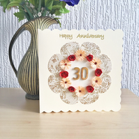Quilled anniversary card  - personalised to ANY number