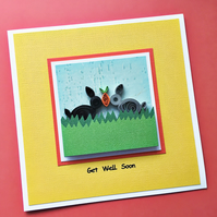 Get well soon card - quilled rabbits