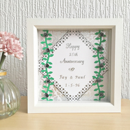 Silver wedding anniversary box frame - personalised gift - quilled roses