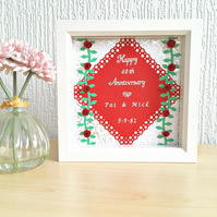 Ruby wedding anniversary gift - personalised box frame