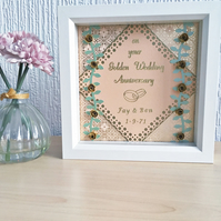Golden wedding anniversary box frame - personalised gift