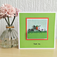 Thank you card - quilled rabbits - personalised option available