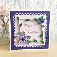 Birthday card - quilled flowers - boxed card option