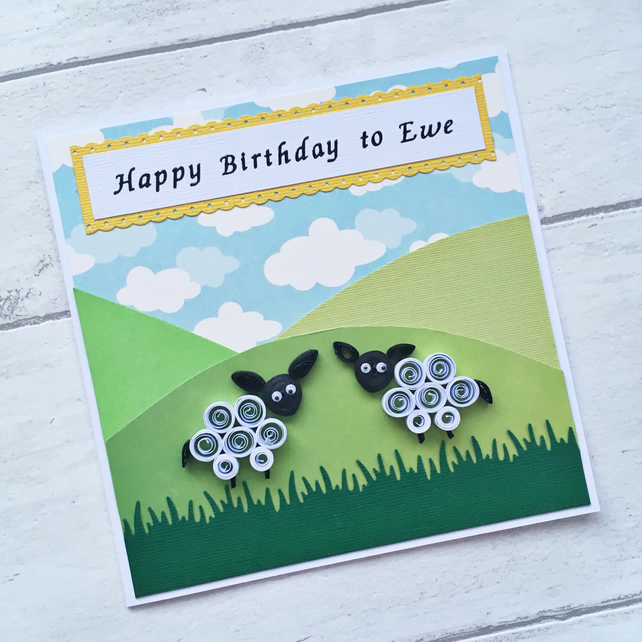 Birthday card - quilled sheep - boxed card option - Folksy