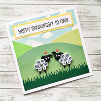 Anniversary card - quilled sheep - boxed card option