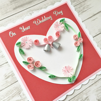 Wedding day card - pink quilled roses - personalised