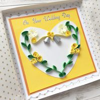 Wedding day card - quilled yellow roses - personalised