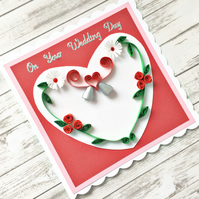 Personalised wedding day card - red quilled roses