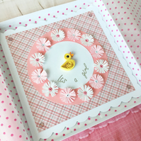 Baby girl card - personalised and boxed card option