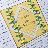 Anniversary card - quilled yellow roses - golden wedding or any number