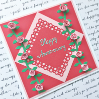 Quilled card - anniversary roses - any number