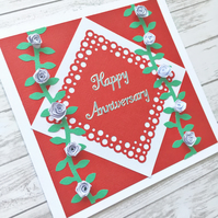 Anniversary card - quilled roses - boxed option