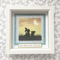 Baby box frame - quilled rabbits - personalised gift