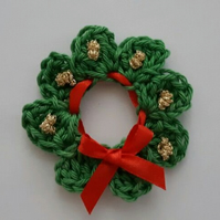 Christmas Crochet Wreath -Crafts- Scrapbooking - Applique- Embellishments