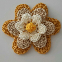 Large Cotton Crochet Flower- Crafts- Applique- Embellishments- Mustard Yellow