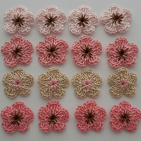 16 Cherry blossom Flowers - Crafts - Embellishments- Cardmaking