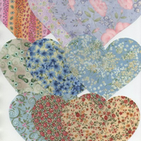 "ChrissieCraft 10 assorted quality cotton die-cut 4.5"" hearts for APPLIQUE"