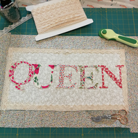 ChrissieCraft die-cut LIBERTY QUEEN cushion front KIT