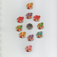 ChrissieCraft pack of 10 assorted cute painted wooden TOADSTOOL COTTAGE buttons
