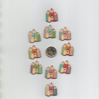 ChrissieCraft pack of 10 assorted colourful painted wooden FAIRY CASTLE buttons