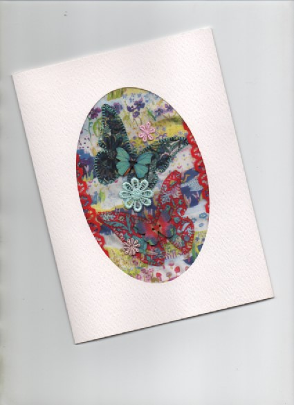 ChrissieCraft LIBERTY & LACE appliqued embellished blank GREETINGS CARD