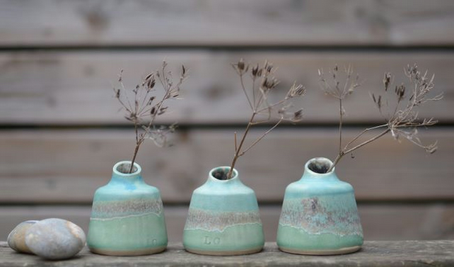 Skyline Bud vases - Beautifully glazed in green and turquoise