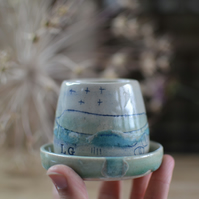 Small Seascape plant pot and saucer - glazed in blues and greens