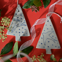 2 X Handmade Ceramic Christmas Tree decorations - 1 X Hare & 1 X Swift