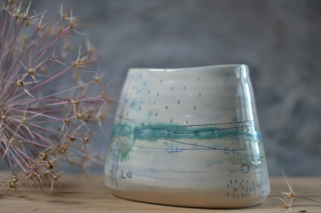 Large oval pot - Seascape, Beautifully glazed in sea tones (1)