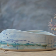 Large low oval pot - Seascape, Beautifully glazed in sea tones