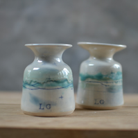 Beautiful Seascape bud vase - glazed in sea colours of blues and turquoise