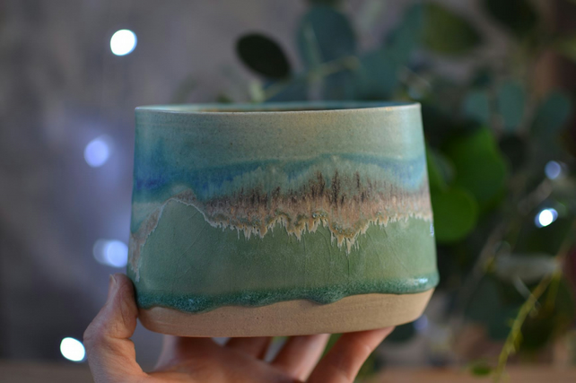 Skyline oval pot - Medium - green and turquoise tones (1)