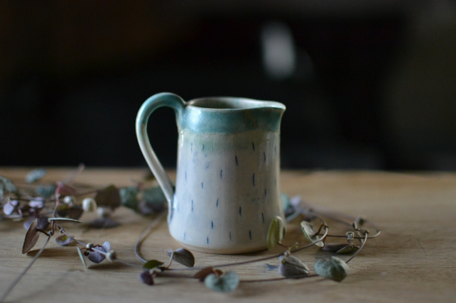 Small Ceramic Solstice jug (a) Decorated with Linear detail and turquoise glaze