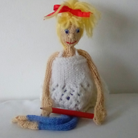 Knitted Doll, Desk decor, home decor, worry doll
