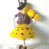 Felted Flower Girl, Art Doll, Waldorf Inspired, Wedding Gift, Nursery Gift