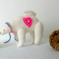 Felt polar bear, Felted Polar bear, Christmas Decor