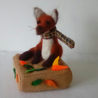 Needle Felted Fox, sitting Felted Fox, Fox gift