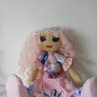 Fabric Doll, Handmade Doll, Collectable Doll, Pink Doll