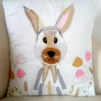 Linen Cushion, Rabbit Cushion, Embroidered Cushion, Home Decor