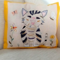 Cat Embroidered Linen Cushion, Cat cushion, Linen Cushion