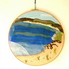 Ocean Embroidery and Applique Wall Art, Textile Embroidery