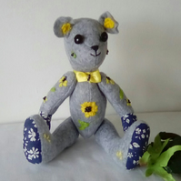 Embroidered Felt Teddy bear, Felt Teddy, Grey Teddy