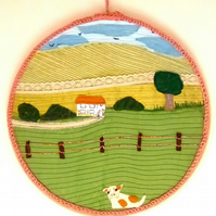 Textile Embroidery Hoop Art, Applique Art, Embroidery Hoop