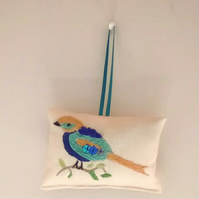 Lavender Bag, Embroidered Lavender Bag, Bird Lavender Bag